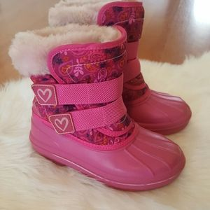 Toddler girl pink faux fur duck winter boots 9/10